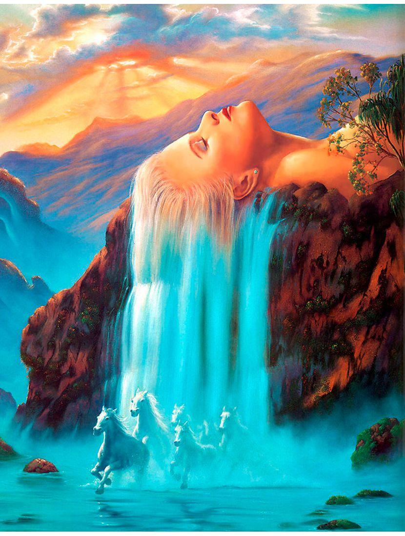 """Картина по номерам  на подрамнике """"Девушка водопад"""""""