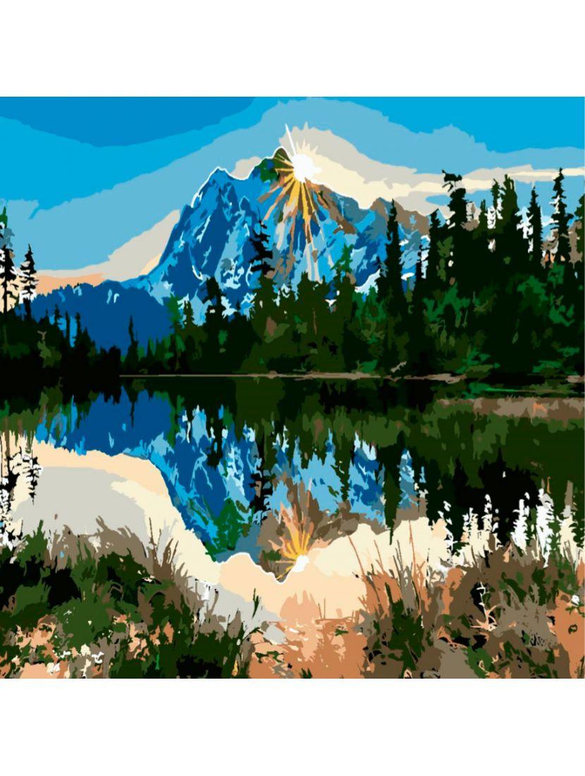 """Картина по номерам  на подрамнике """"Горы в лесах"""""""