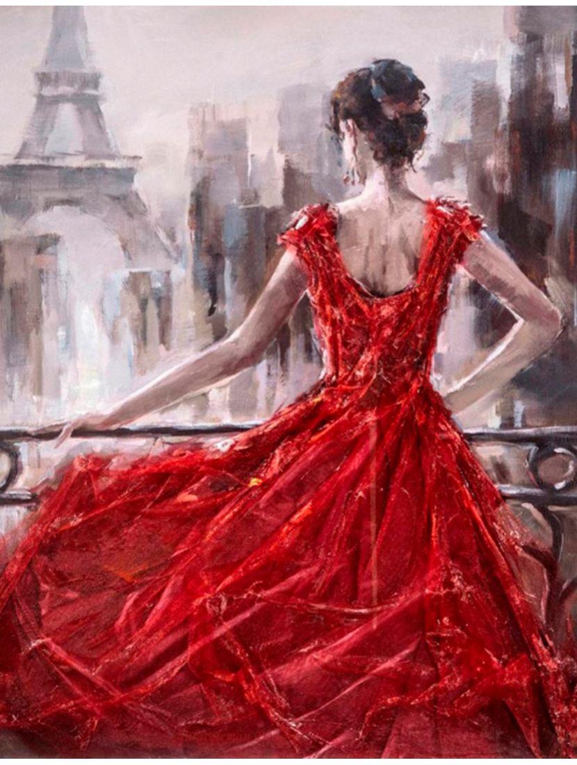 """Картина по номерам  на подрамнике """"Хрупкость в красном платье"""""""