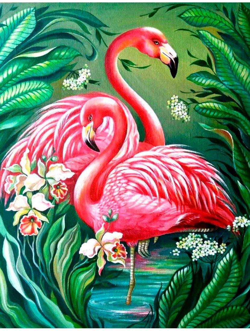 Картина по номерам  на подрамнике «Розовый фламинго»