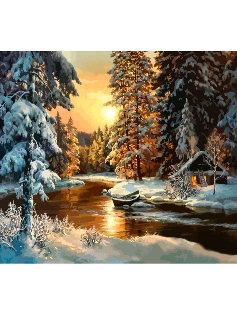 "Картина по номерам  на подрамнике ""В зимнем лесу"""