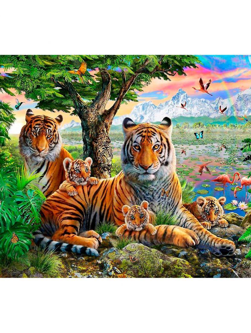 """Картина по номерам  на подрамнике """"Семья тигров"""""""