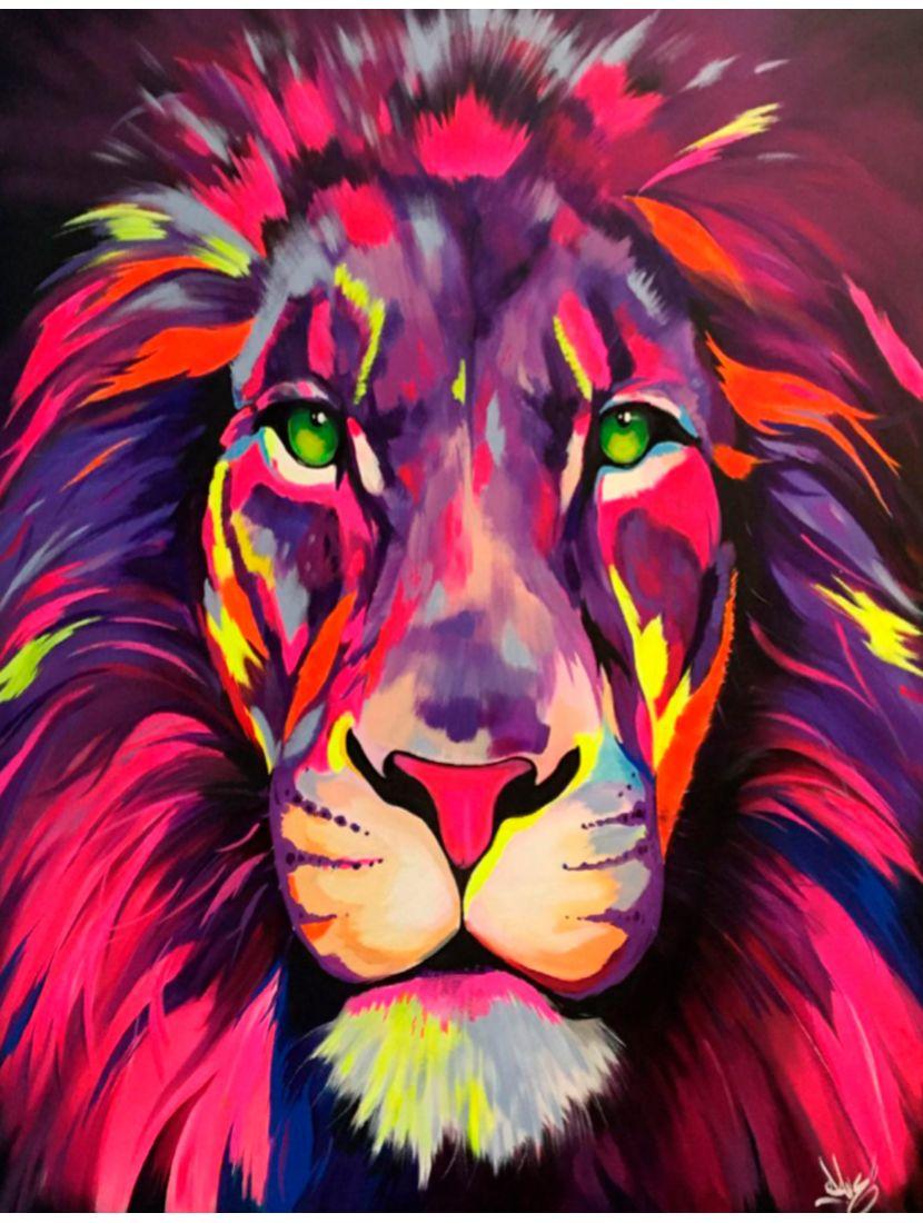 Картина по номерам  на подрамнике «Радужный лев»