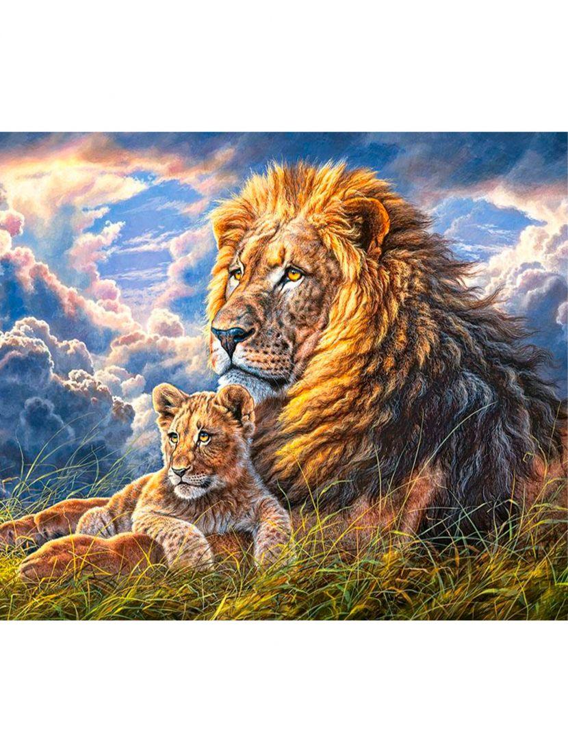 Картина по номерам  на подрамнике «Величественный лев»