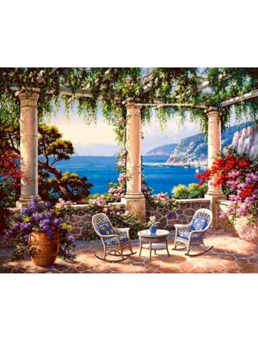 """Картина по номерам  на подрамнике """"Средиземноморская терраса"""""""