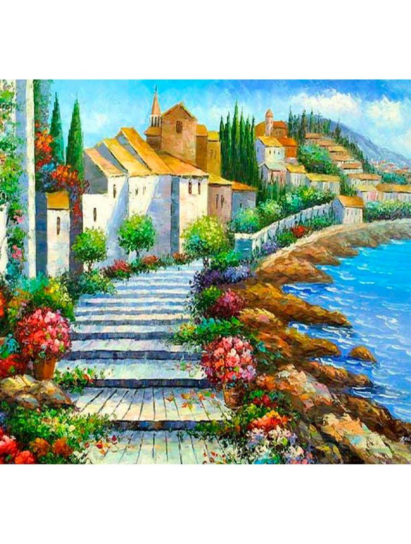 "Картина по номерам  на подрамнике ""Город на побережье"""