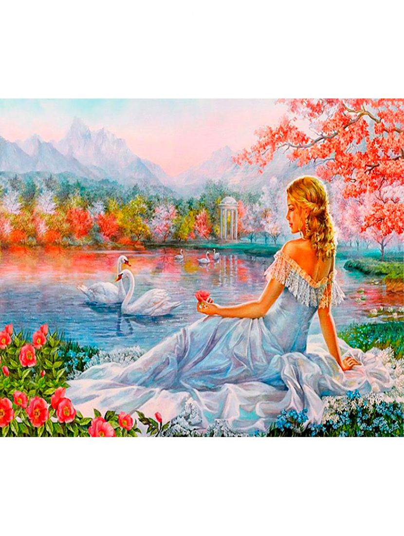 """Картина по номерам  на подрамнике """"Девушка у пруда"""""""