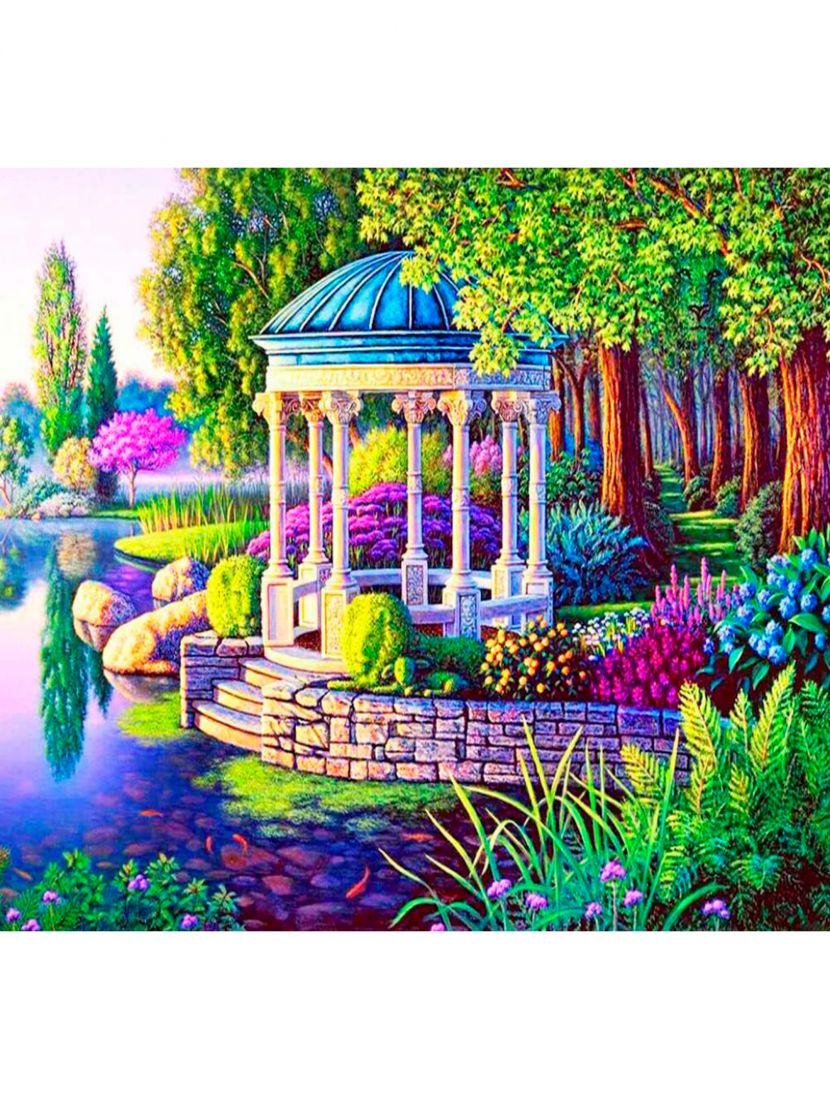 "Картина по номерам  на подрамнике ""Беседка у озера"""