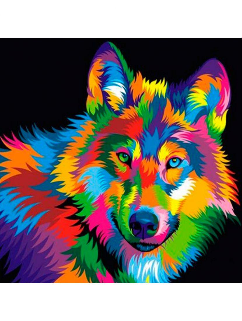 """Картина по номерам  на подрамнике """"Волк в красках"""""""