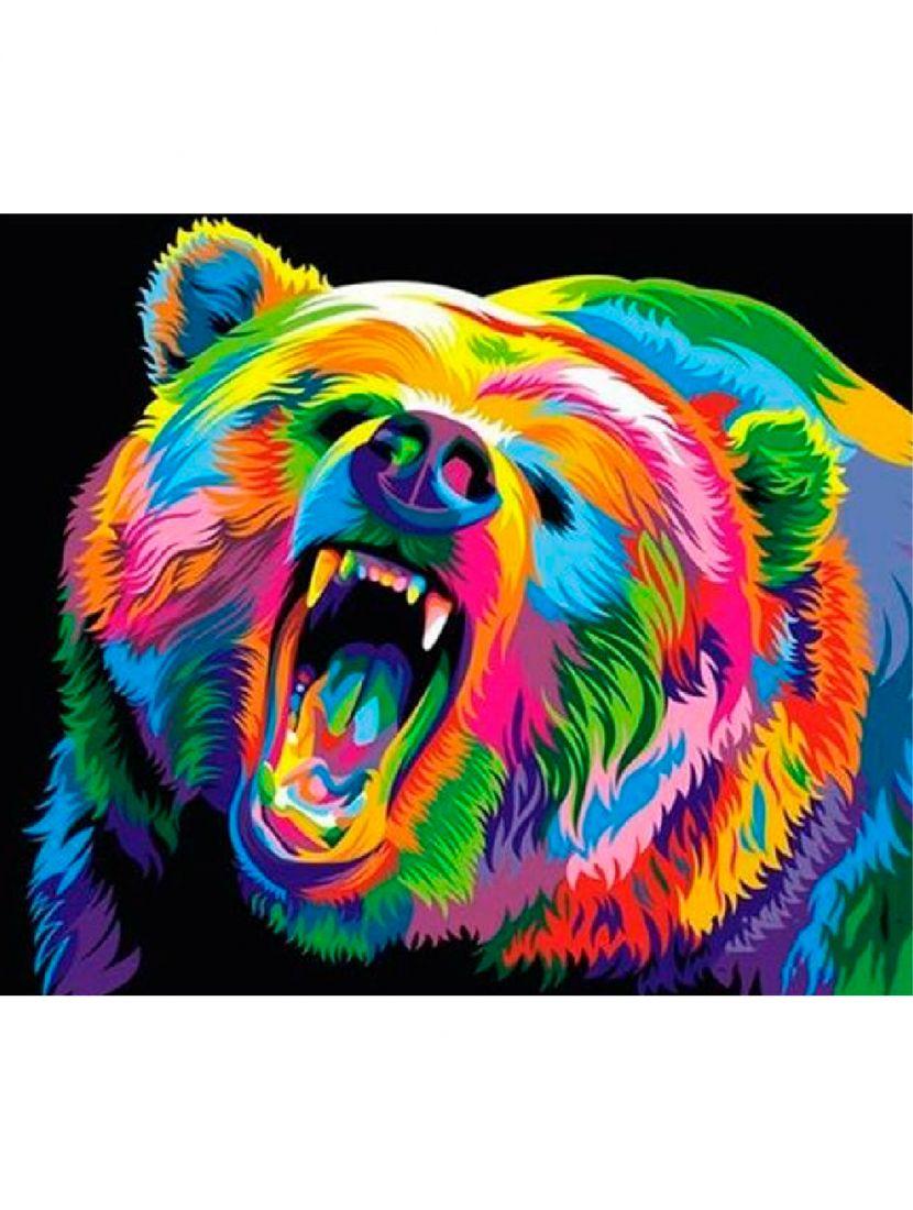 """Картина по номерам  на подрамнике """"Медведь в красках"""""""
