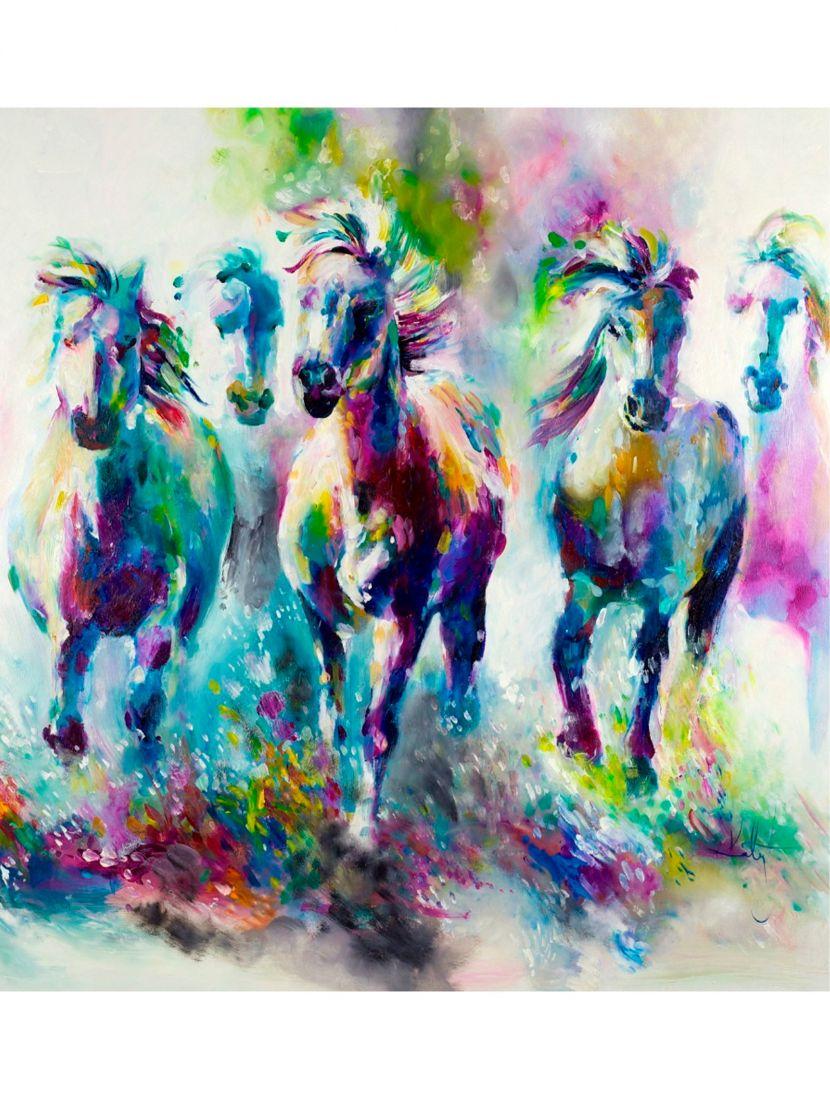 """Картина по номерам  на подрамнике """"Вольные кони в красках"""""""