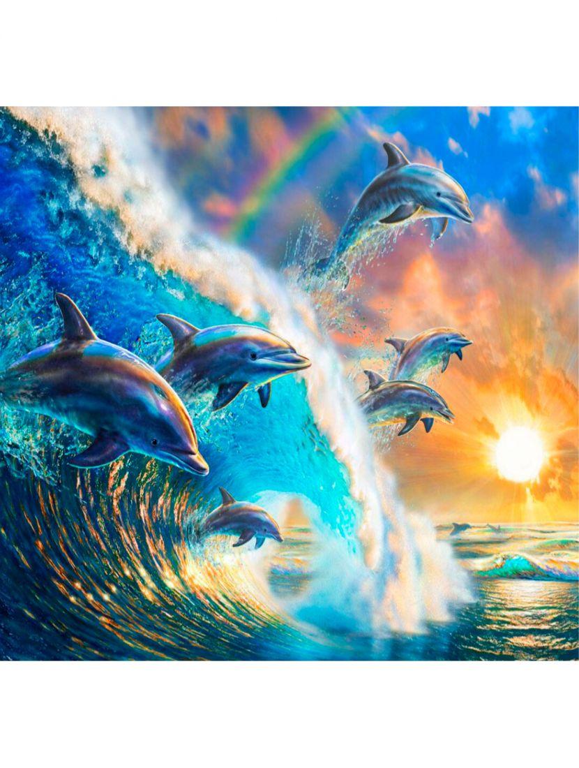 """Картина по номерам  на подрамнике """"Дельфины на волне"""""""