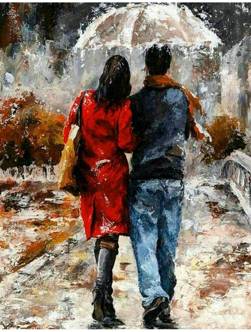 """Картина по номерам  на подрамнике """"Влюблённые под дождём"""""""