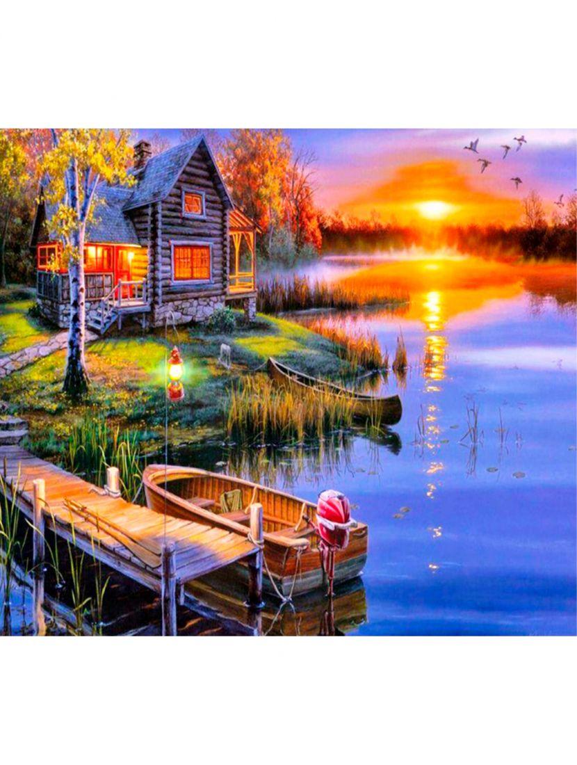 "Картина по номерам  на подрамнике ""Домик у озера"""