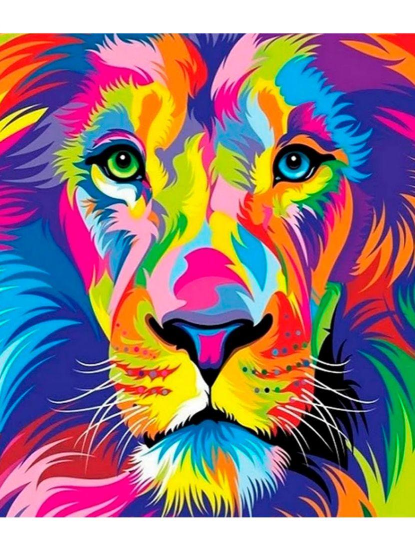 """Картина по номерам  на подрамнике """"Разноцветный Лео"""""""