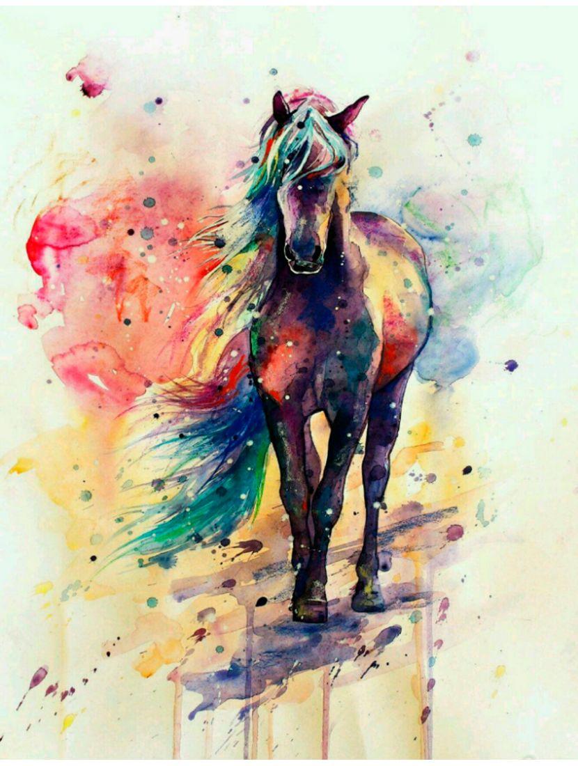 """Картина по номерам  на подрамнике """"Лошадь акварелью"""""""