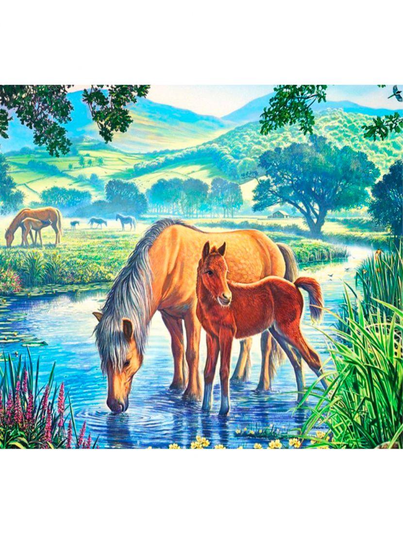 """Картина по номерам  на подрамнике """"Лошади у речки"""""""