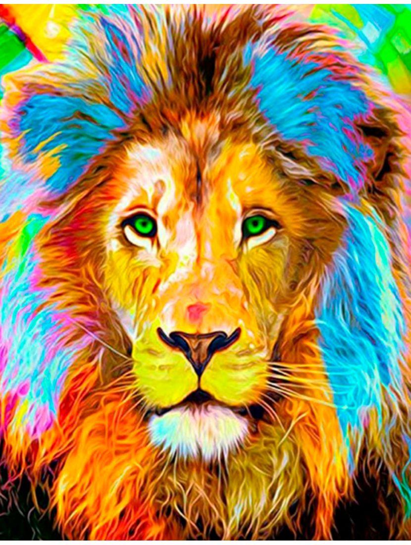 """Картина по номерам  на подрамнике """"Разноцветный лев"""""""
