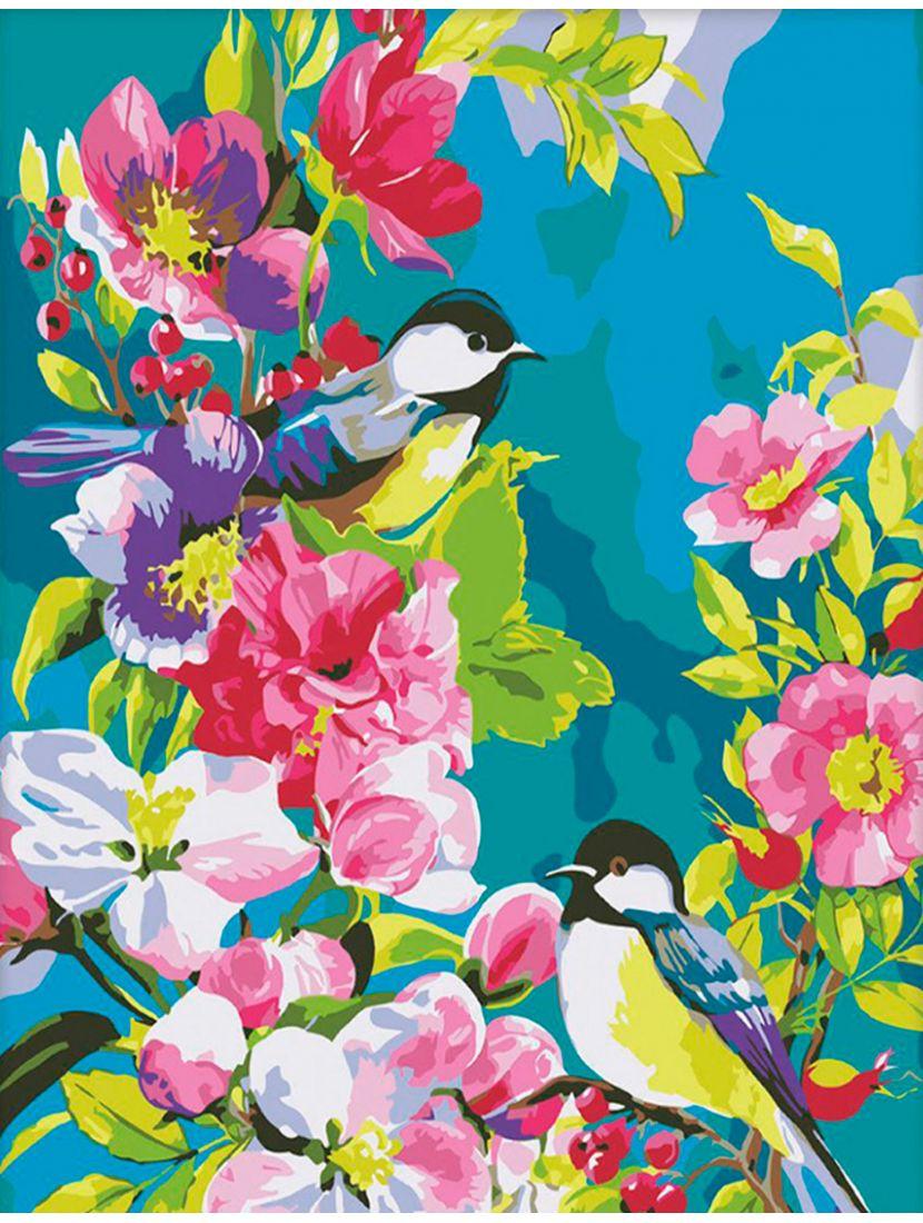 """Картина по номерам  на подрамнике """"Птицы в цветах"""""""
