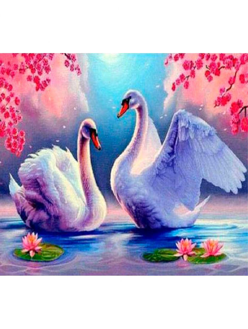 Картина по номерам  на подрамнике «Лебеди»