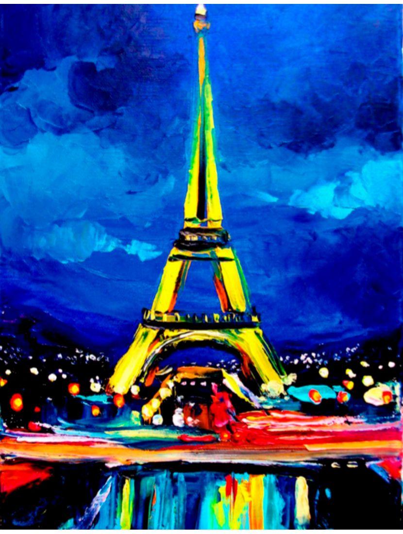 Картина по номерам  на подрамнике «Эйфелева башня маслом»