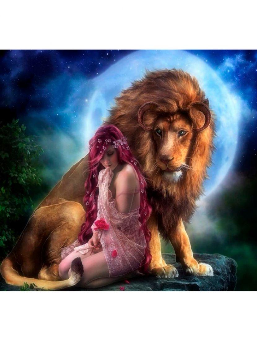 """Картина по номерам  на подрамнике """"Дева и лев"""""""