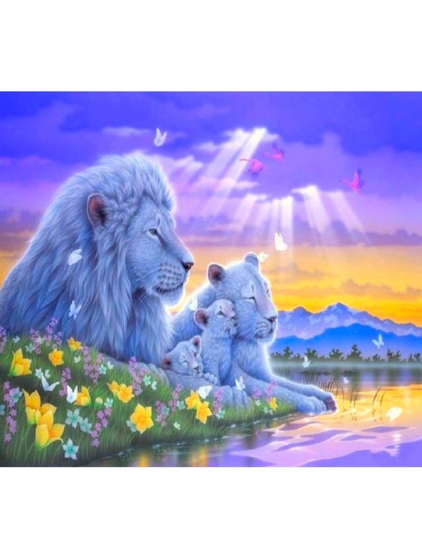 """Картина по номерам  на подрамнике """"Фантастический мир львов"""""""
