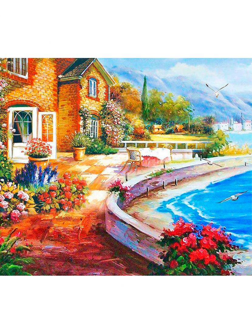 Картина по номерам  на подрамнике «Дом у моря»
