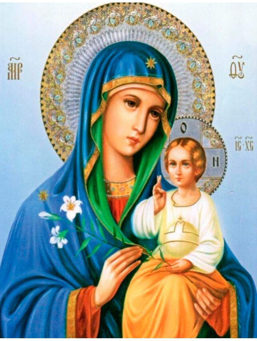 Алмазная мозаика «Божией Матери. Неувядаемый цвет» икона