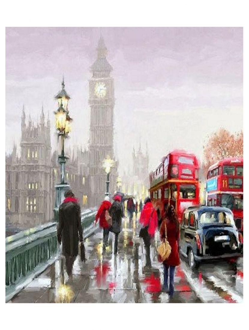 Купить картину по номерам «Дождливый день в Лондоне ...  Дождливый Город Картина