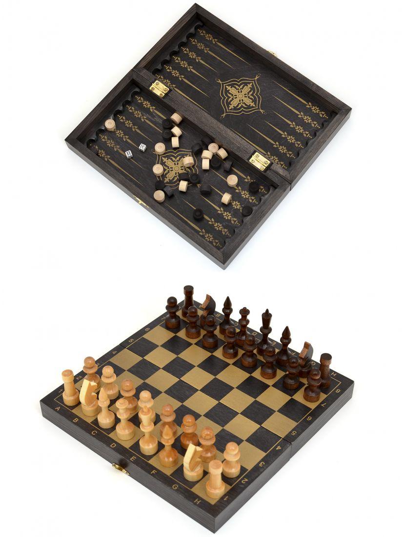 Шахматы, нарды, шашки «Обиходные-золото» 3 в 1 мини
