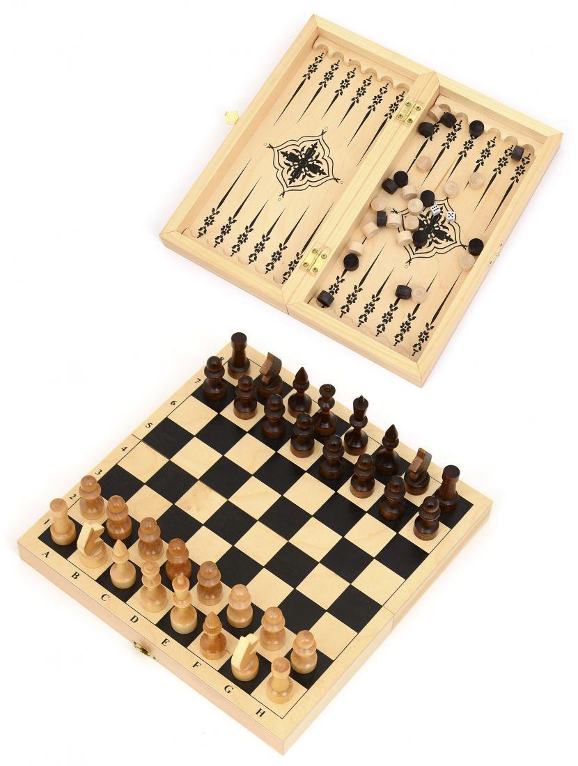 Шахматы, нарды, шашки «Обиходные» 3 в 1 мини