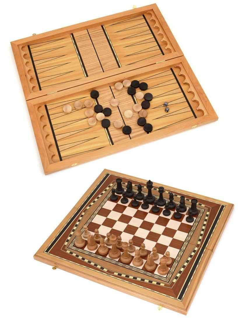 Нарды, шахматы, шашки 3в1 большие «Восьмиклинка» светлая клетка