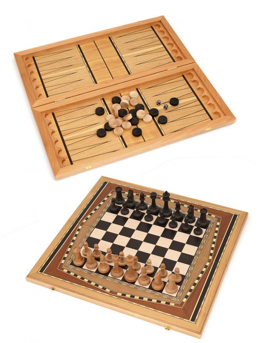 Нарды, шахматы, шашки 3в1 большие «Восьмиклинка» тёмная клетка
