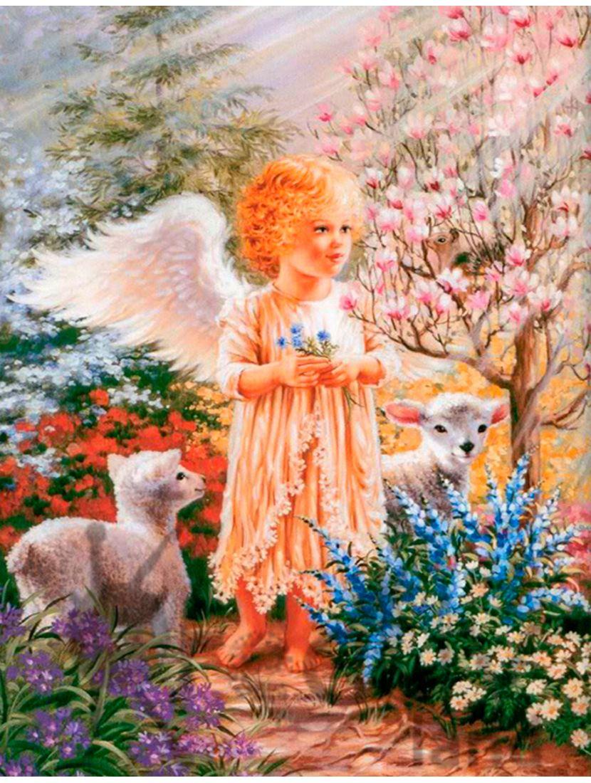 """Картина по номерам  на подрамнике """"Ангелочек и ягнята"""""""