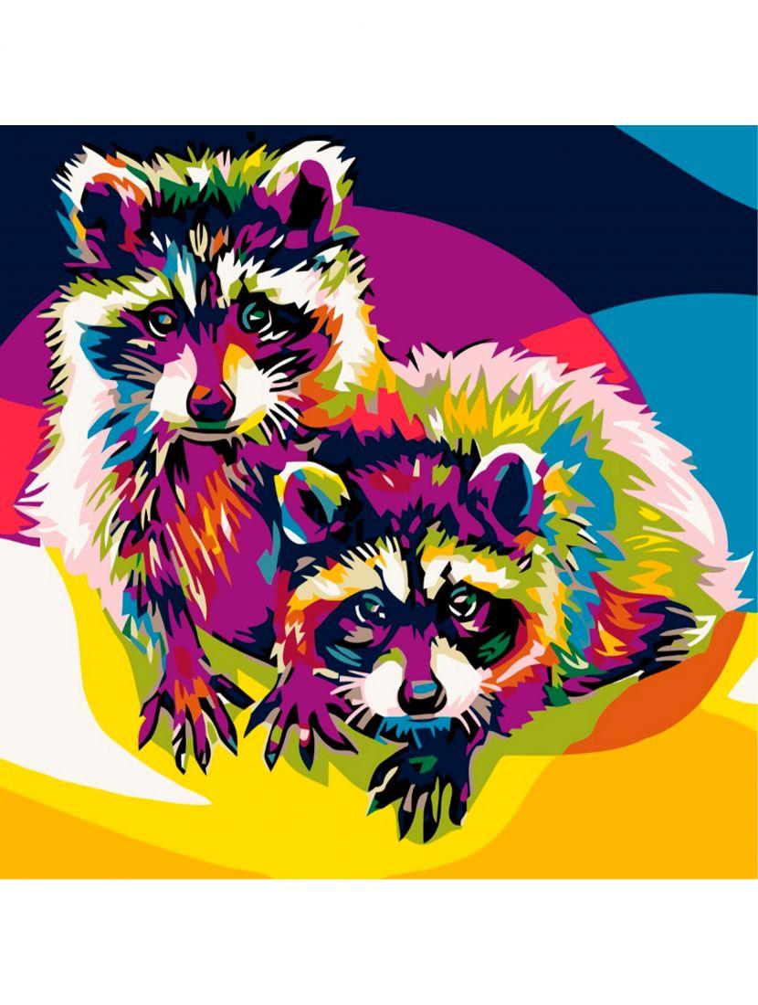 Картина по номерам  на подрамнике «Радужные еноты»