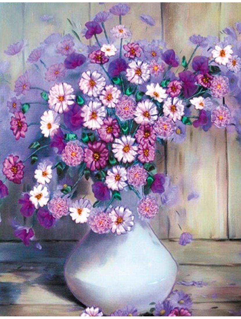 Картина по номерам  на подрамнике «Фиолетовая маргаритка»