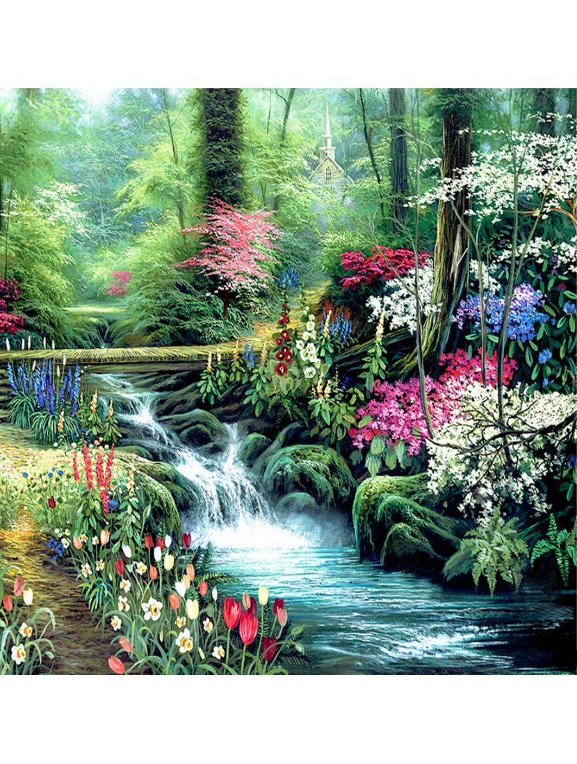 """Картина по номерам  на подрамнике """"У лесного ручья"""""""