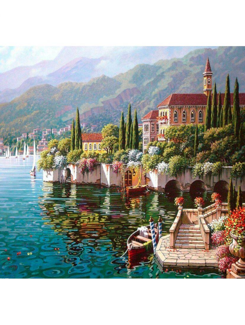 """Картина по номерам  на подрамнике """"Итальянский городок у моря"""""""