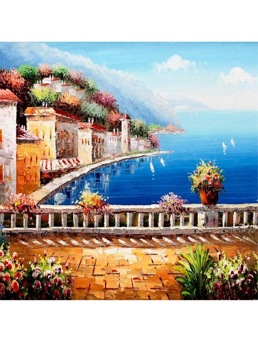 Картина по номерам  на подрамнике «Средиземноморский пейзаж»