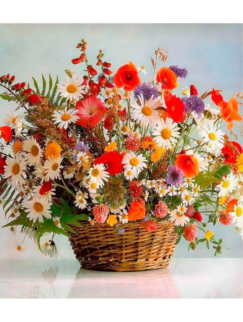 "Картина по номерам  на подрамнике ""Летние цветы"""