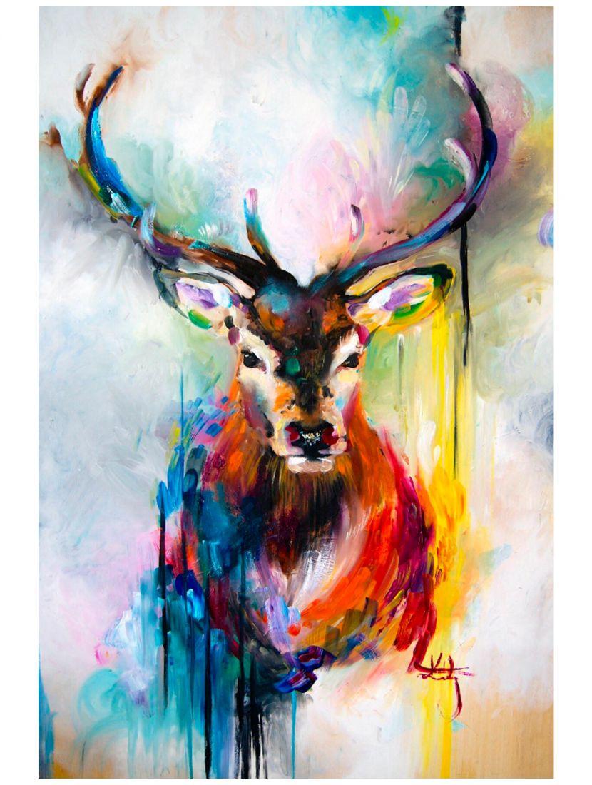 Картина по номерам  на подрамнике «Олень красками»