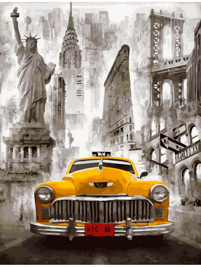 """Алмазная мозаика на подрамнике """"Нью-Йоркское такси"""""""