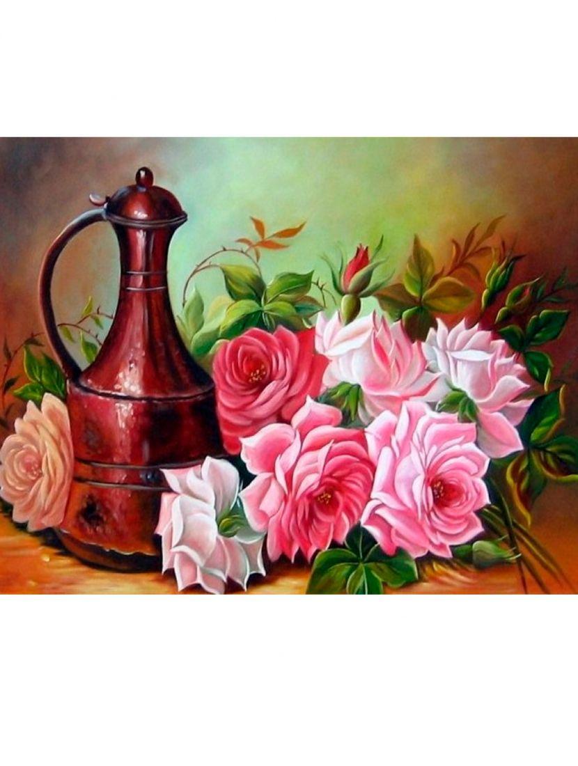 Алмазная мозаика на раме со стеклом «Бронзовый кувшин и садовые розы» подарочный вариант