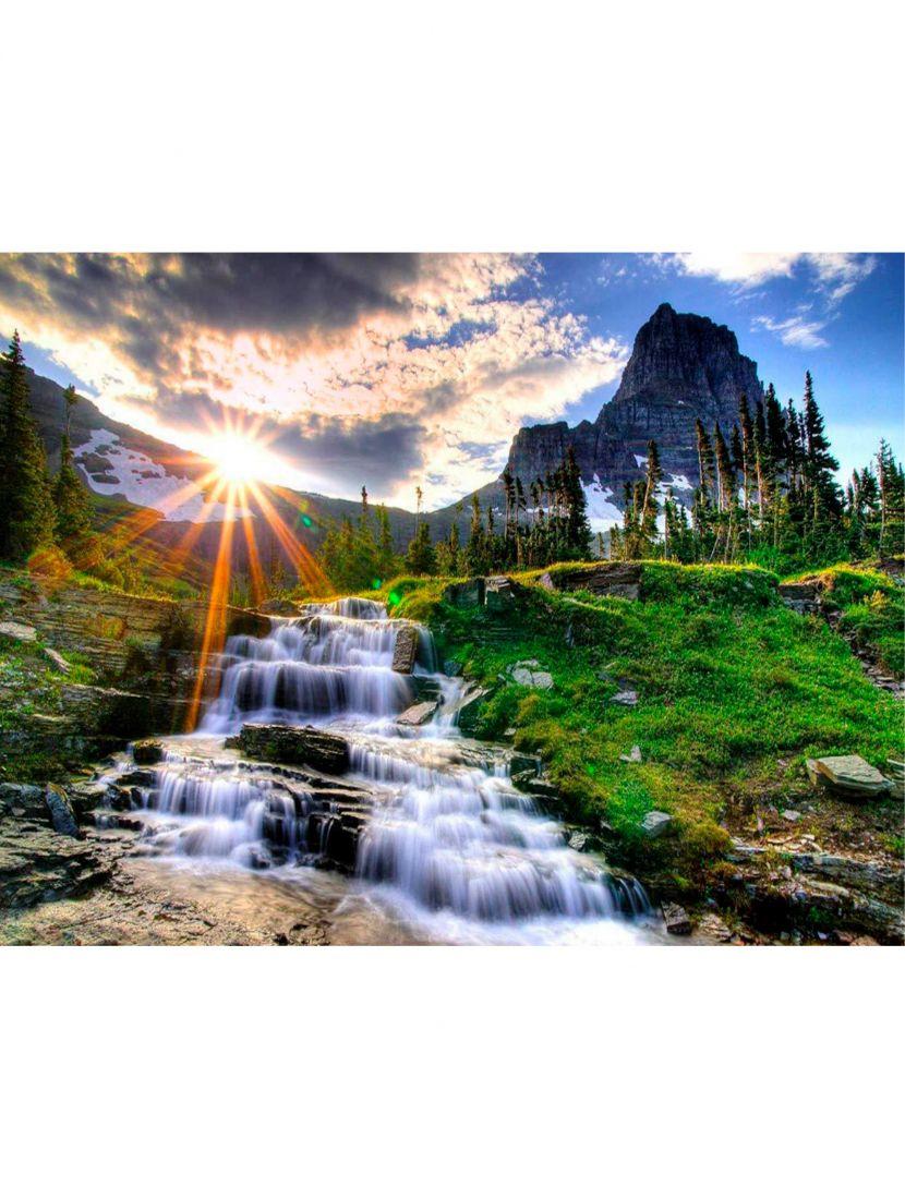 Алмазная мозаика  «Горный водопад»