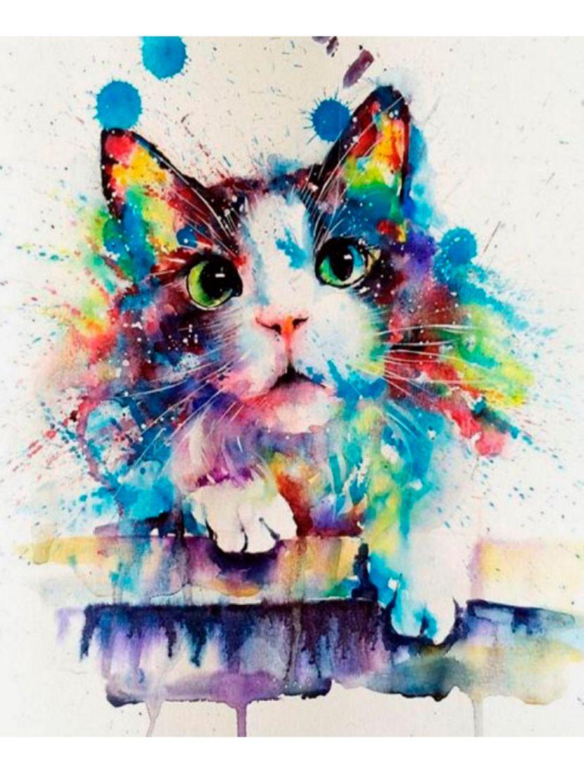Алмазная мозаика «Кошка в красках»