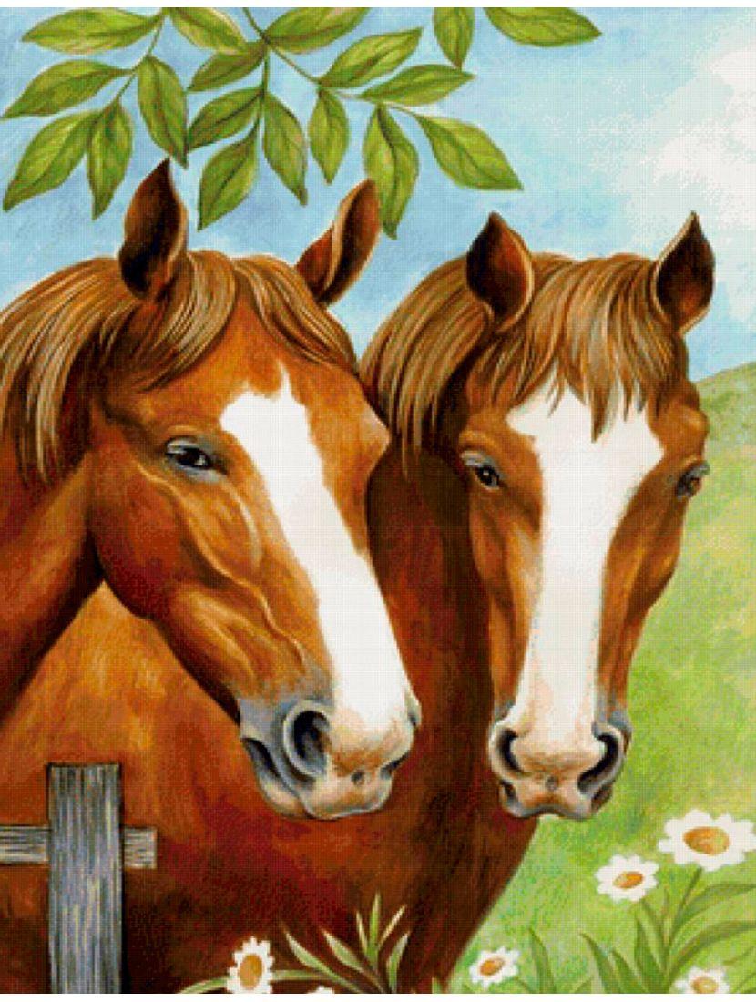 """Алмазная мозаика """"Пара лошадей"""""""