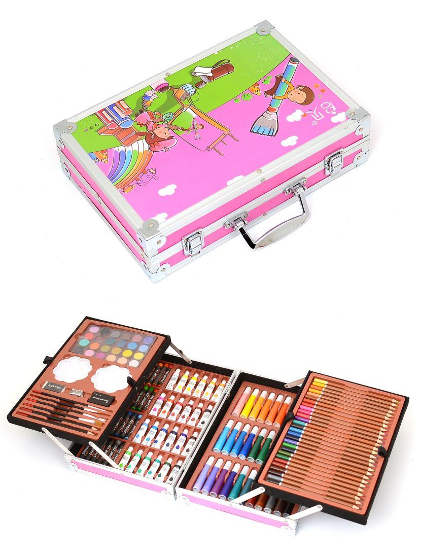 Набор для рисования в кейсе «Юный художник» 147 предметов розовый