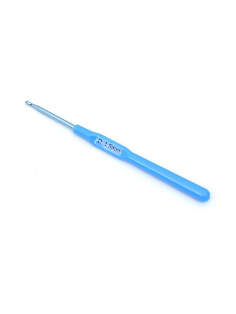 Крючок для вязания металлический с пластиковой ручкой , диаметр 3,5 мм, длина 14 см
