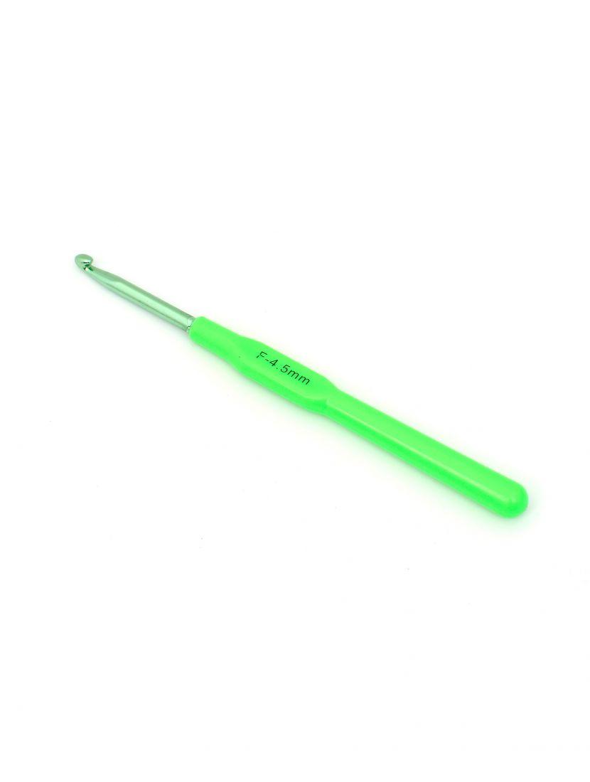 Крючок для вязания металлический с пластиковой ручкой , диаметр 4,5 мм, длина 14 см